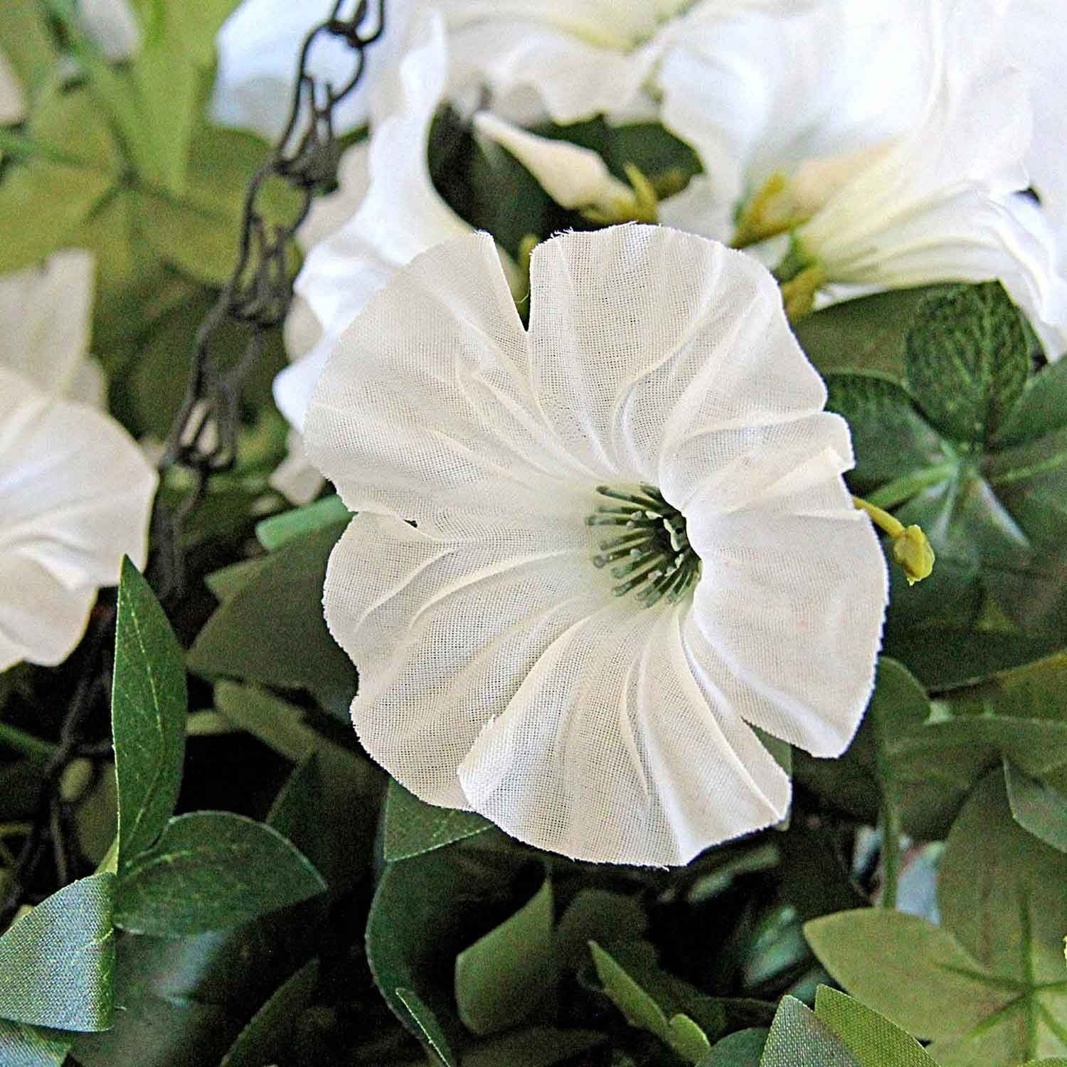 Artificial morning glory white flower hanging basket The Artifici