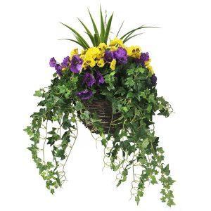 Yellow and purple hanging basket