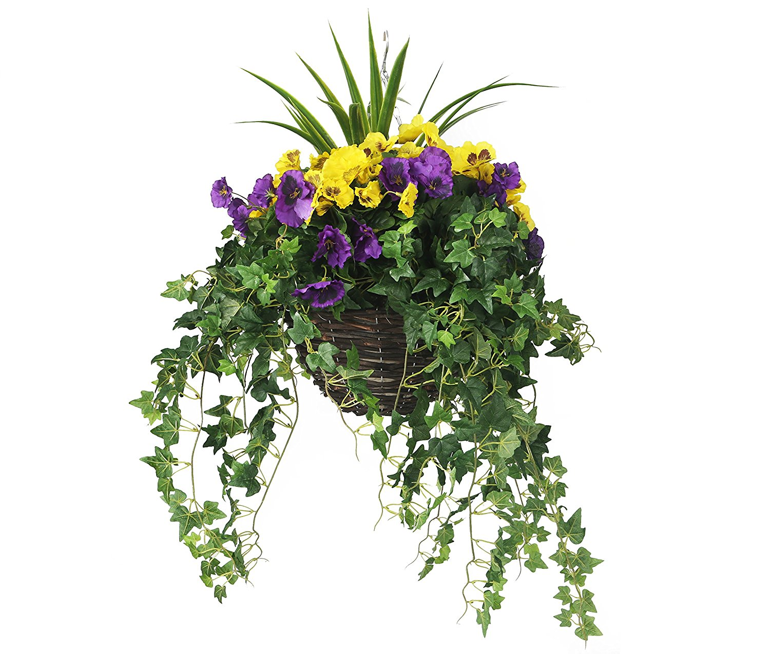 Artificial yellow and purple trailing hanging basket the yellow and purple hanging basket mightylinksfo