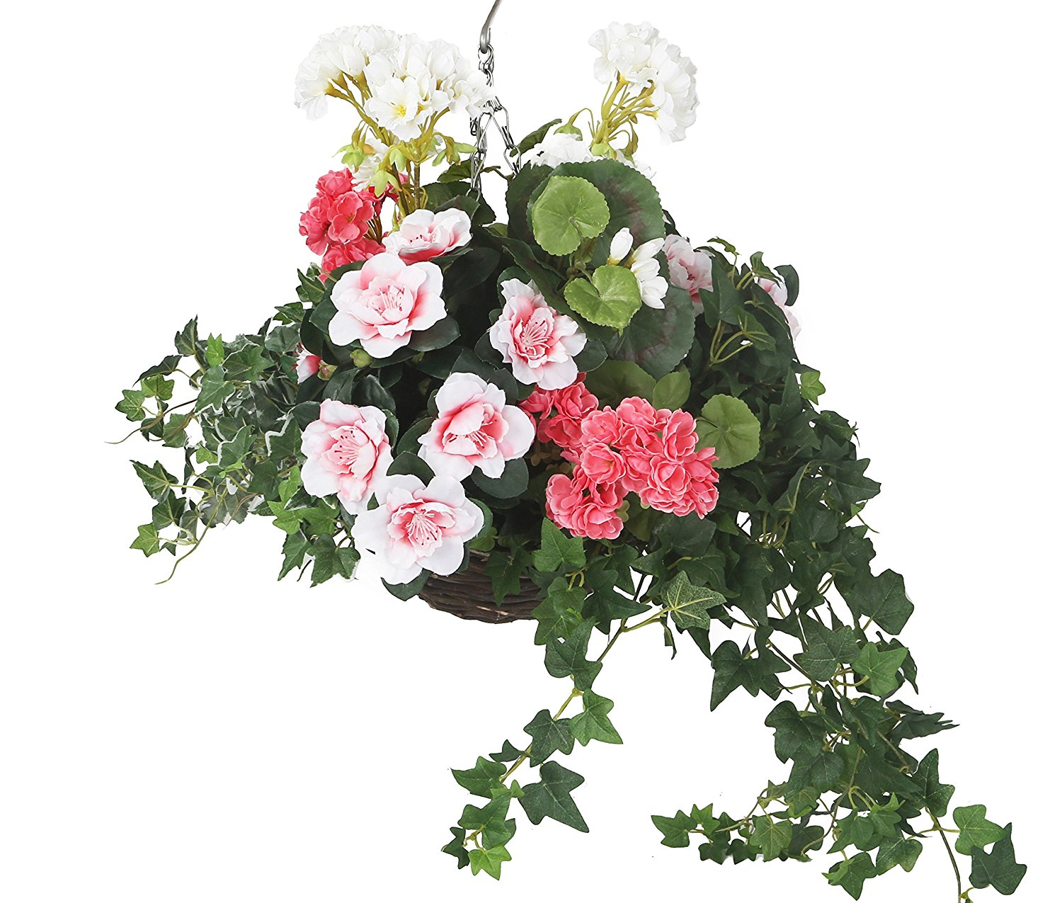 Flowers and foliage artficial hanging basket