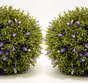 Artificial topiary balls with lavender flowers