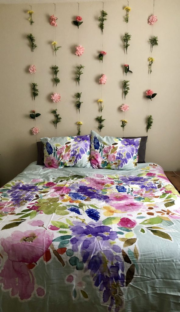 Artificial flower headboard