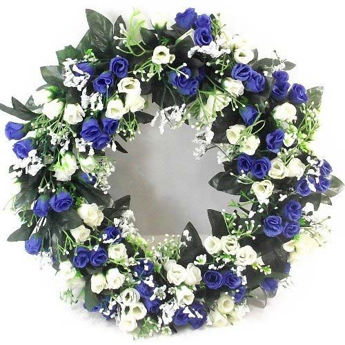 Artificial flowers on a wreath