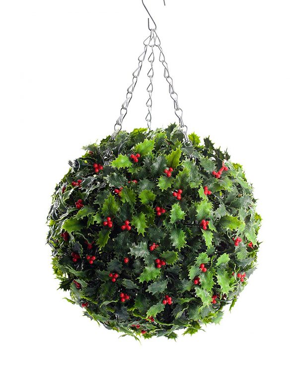 Best Artificial 30cm Holly Ball Christmas Topiary Xmas Hanging Basket