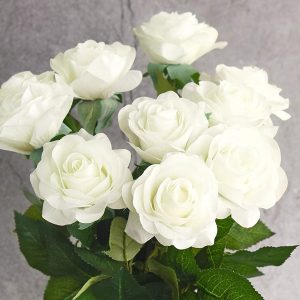 10 artificial white roses