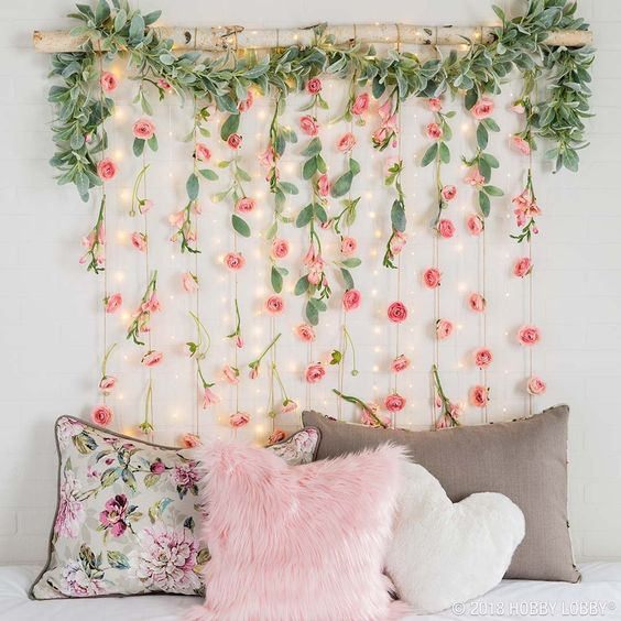 Artificial flower hanging headboard
