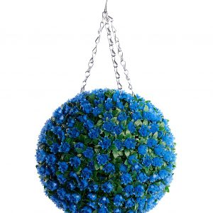 Blue rose artificial topiary