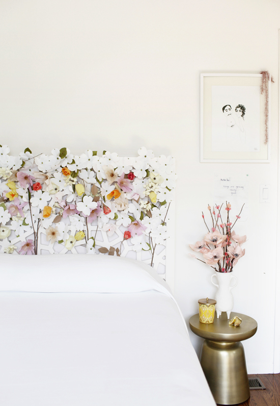 Artificial flowers headboard