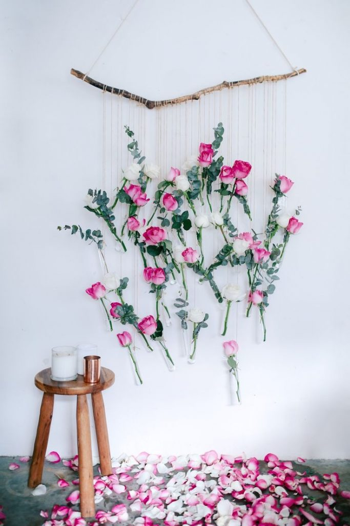 Flower hanging headboard