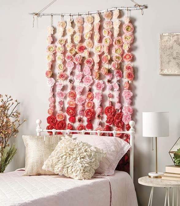 Artificial flower wall headboard