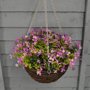 Lilac lobelia artificial hanging basket
