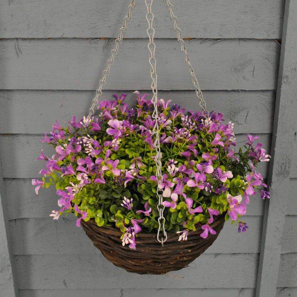 Lilac lobelia artificial hanging basket