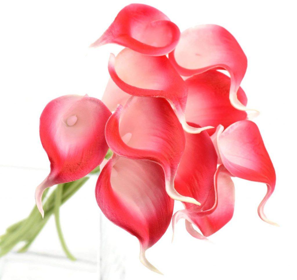 Pink artificial cala lilies