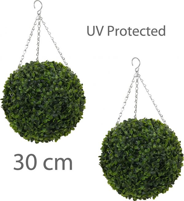 Pair of 30cm hanging topiary balls