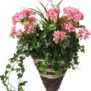 Artificial hanging basket cone with Geranium flowers