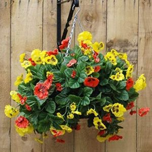Red and yellow pansy artificial hanging basket