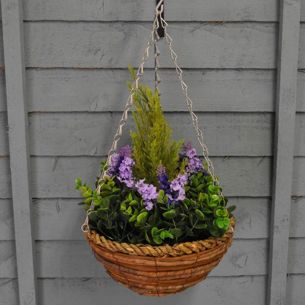 Artificial hanging basket with foliage