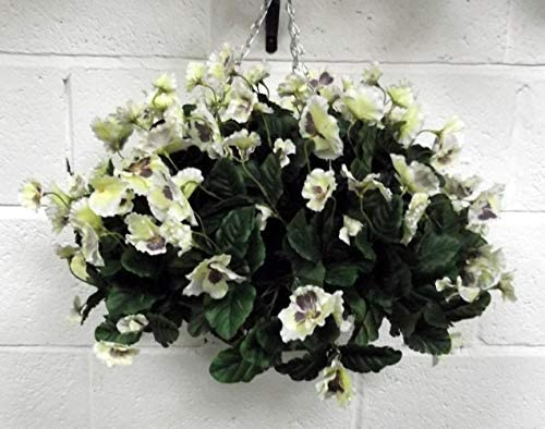Artificial hanging basket with white pansies