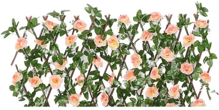 Artificial flowers woven into trellis